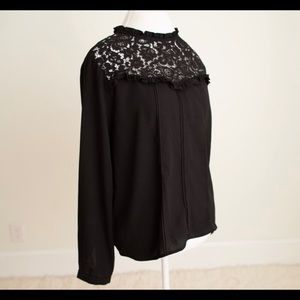 Anthropologie Guest Editor Black Lace Blouse